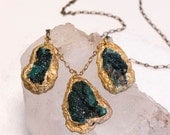 Mineral Necklace with Adamite and Malachite -Green- Druzy- Rough Cut Stone-Statement Necklace by Pauletta Brooks