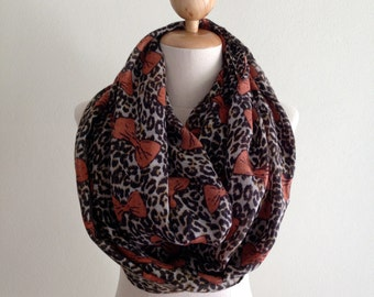 Brown Animal and Bow Print Scarf, Infinity Scarf, Spring Scarves, Women's Scarves