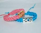 Handmade Cord Bracelet, Stackable Bracelet, Nylon Cord Bracelet, Crocheted Cord Bracelet, Rope Bracelet, Crocheted Bracelet, Pink, Blue
