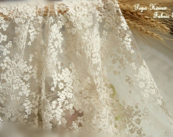 Beige Wedding Lace Fabric, French Embroidered Lace, Bridal Lace Fabric,  Curtain Fabric Wedding