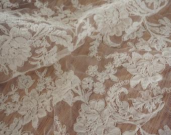 Ivory Alencon lace fabric, birdal lace fabric dress lace , wedding lace fabric,cord fabric lace for wedding dress