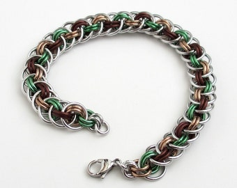 Mint green & brown chain mail bracelet, Viper Basket weave