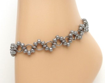 Stainless steel chainmail anklet with silver beads, beaded ankle chain, chainmail jewelry for women