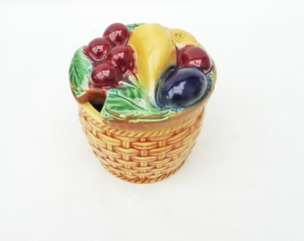 Vintage Ceramic Basket of Fruit Look Preserve Pot, Ceramic Sugar Bowl, UK Seller