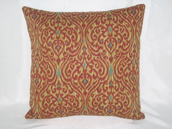 THROW PILLOW sham / cover fits 16x16 rust brown and blue