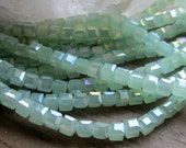 Crystal Cube Bead Opaque Seafoam Green AB 4mm 1 Strand