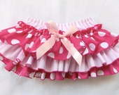 Beautiful Parley Ray Minnie Pink Polka Dots  and Stripes Ruffled Baby Bloomers/ Diaper Cover /Photo Prop Disney Minnie Mouse