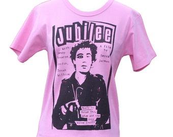 Derek Jarman Jubilee - Punk T-shirt -Movie Poster tshirt - Womens Small Medium 34 36 Chest -Cult Movie Classic B Movie Poster -Pink
