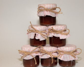 1 mini 2 oz. mason jar with pink fabric and twine, perfect for garden and rustic weddings!