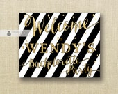 Black White Stripe Welcome Sign Gold Glitter Bachelorette Party Wedding Buffet Food Table Sign Printable 8x10 DIY Digital or Printed - Wendy