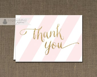 Pink & Gold Thank You Card Gold Glitter Pink Stripes INSTANT DOWNLOAD Folded Note Card Notecard Blank Inside Digital or Printed - Stella