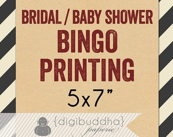 Bridal / Baby SHOWER BINGO PRINTING for any digibuddha Bridal or Baby Shower Bingo game design. Thick Card Stock 5x7 Kitchen Tea Hen's Party