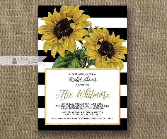 Cheap Sunflower Wedding Invitations: Sunflower Bridal Shower Invitation Black & White Stripes Gold