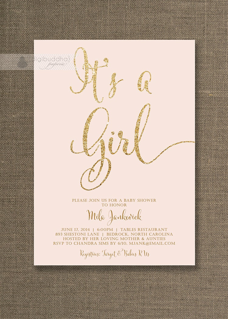 blush pink gold baby shower invitation it 39 s by digibuddhapaperie