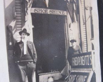 Vintage Photograph Fred Reitz's Shoe Shine Parlor for Ladies & Gentlemen Antique Photograph Snapshot Posing Antique Picture Vintage Photo
