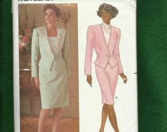 Vintage 1989 Butterick 4468 Mother of the Bride Two Piece Suit with Strong Shoulders & Pencil Skirt Sizes 12-14-16 UNCUT