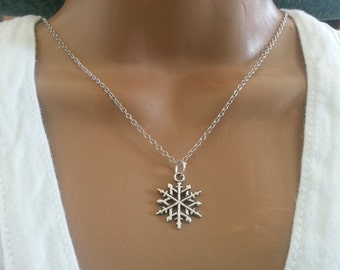 Antique silver Snow Flake Necklace