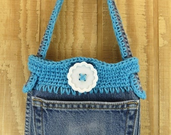 READY TO SHIP  denim bag recycled denim bag  gypsy bag bag purse womens handbag girls shoulder bag