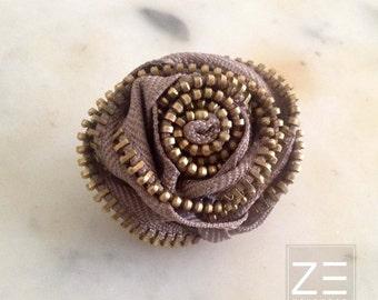 Flower Lapel Pin, Khaki, Zipper