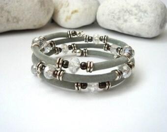 Velvet Wrap Bracelet, Bangle, Clear Crystal. Grey bangle