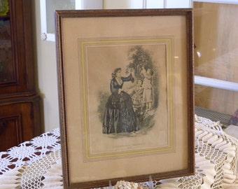 An Antique 1856 Godey's Americanized Paris Fashion Framed Original Print