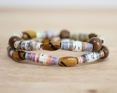Earthy Paper Bead Bracelet, Made With Recycled Book Pages, Natural Bracelet, Teacher Gift,  Brown Bracelet