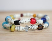 Multi Color Bracelet, Music Paper Bead Bracelet Set, Made With Recycled Sheet Music Paper, Music Teacher Gift, Music Lover