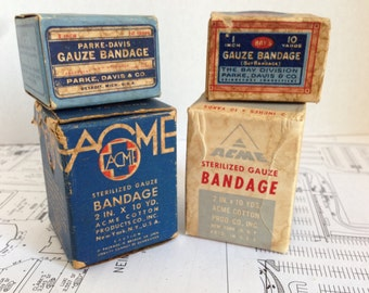 Set of Vintage Gauze Bandages in the Original Boxes (ACME - 2, Bay's and Parker Davis)