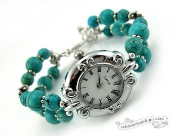 Turquoise Scroll bracelet watch, turquoise watch, wrist watch, beaded watch, gemstone watch, adjustable watch, birthstone watch, bead watch