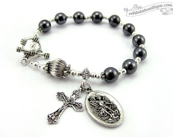 St Michael medal Catholic Rosary bracelet, one decade rosary, Catholic Jewelry, Religious gifts, mens bracelet, mens rosary, catholic gift