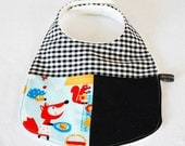 Baby bib - foxes, black limited edition (UK seller)