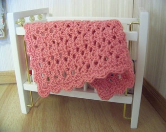 Dollhouse Miniature Hand Crocheted Lacy Shell Afghan Blanket Throw - Bamboo Coral