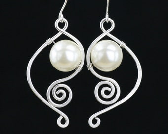 Sterling silver  wiring pearl scroll dangling earrings Bridesmaids gifts Free US Shipping handmade Anni Designs