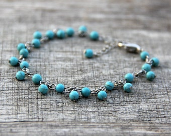 Turquoise charm bracelet Bridesmaids gifts Free US Shipping handmade Anni Designs