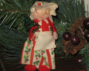 Vintage Mrs. Claus Christmas Holiday Ornament  Fabric and Felt 1970's