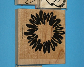 Stampin Up Rubber Stamps Sunflower, Leaves, Swirl  Wood Mounted - 2001 Set of 6 - New
