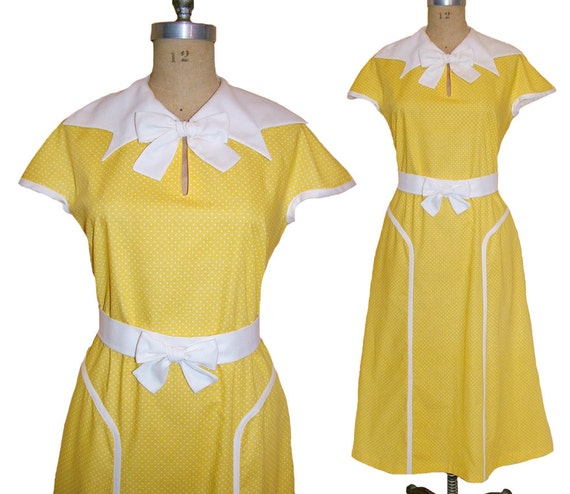 1930s Style Fashion Dresses 1930s Style Pointed Bow Collar Slim Skirt Dress Custom Made in Your Size From a Vintage Pattern $195.00 AT vintagedancer.com