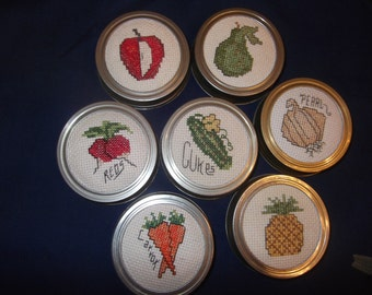 Cross Stitch Jar Lids