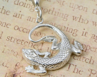 Gecko Pendant - Lizard Necklace - Sterling Gecko - Lizard Jewelry - Silver Necklace - Sterling Necklace - Lizard Chain