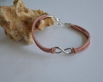 Jewelry... Infinity Charm on Rose Suede Bracelet (0962)