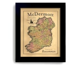 Ireland Map, Irish Gift Personalized Family Name Irish Tradition Irish Counties St. Patrick Day Irish Heritage Celtic Cross