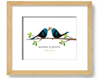Personalized Love Birds Art Print Unique Engagement Wedding Gift for Couple Art Print Engaged Couples Just Married