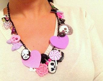 Gothic Loli Purple Pink and Black Kawaii Charm Necklace OOAK