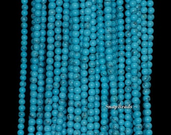2mm Turquoise Gemstone Turquoise Blue Round 2mm Loose Beads 15.5 inch Full Strand (90189197-107)