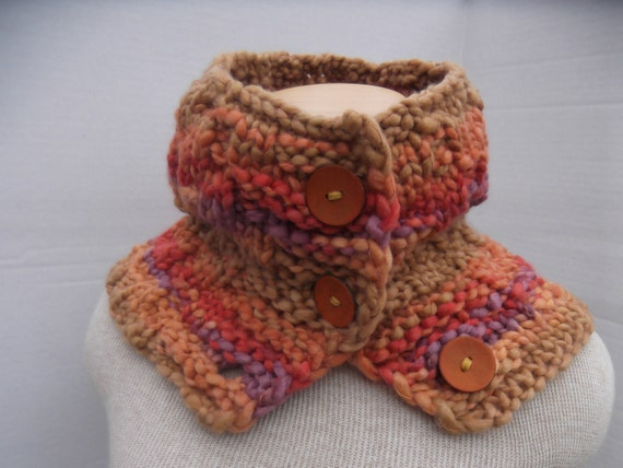 Super Bulky Cowl Hand Knit Cowl with Buttons Knit Super