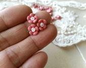 8 mm Coral Color Tiny Flat Back Porcelain Apple Blossom Flowers (.mi)