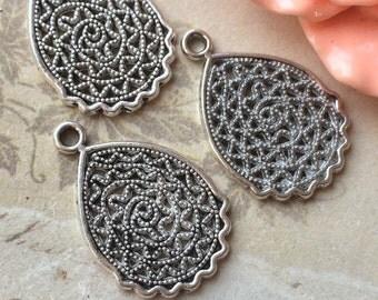 24 x 12 mm Tibetan Silver Petal Charm Connectors/Earring Finding (.am)