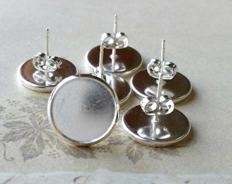 15 mm (Fit for 14 mm Glass Button) Copper Earring Posts With Earring Stoppers / Silver Tone Electroplated (.sn)