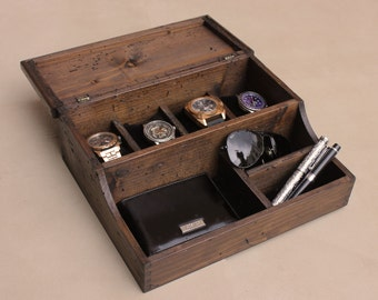 Personalized  Men's Valet and Watch box - Holds 4 watches