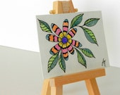 ACEO Colored Pencil and Ink Drawing, Colorful Abstract Flower, Miniature, Small Format Art